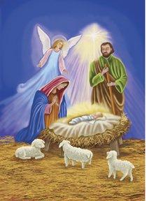 Holy Nativity Family Christmas Large Flag
