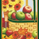 Apples Basket Flowers Autumn Fall Garden Mini Flag