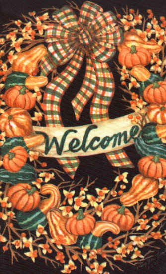 Welcome Autumn Wreath Large Flag