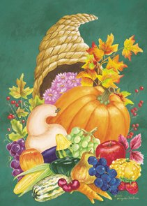 Cornucopia Thanksgiving Harvest Large Flag