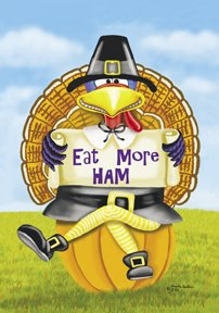 Eat More Ham Turkey Thanksgiving Large Flag
