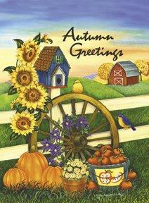 Autumn Greetings Barn Wagon Wheel Large Flag