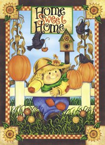 Home Sweet Home Scarecrow Large Flag