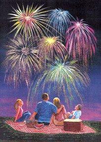 Fireworks July 4 Garden Mini Flag