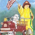 Fireman Patriotic Garden Mini Flag