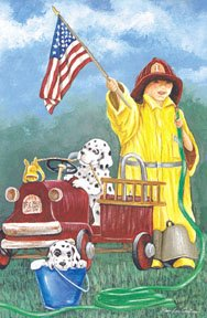 Fireman Patriotic Garden Mini Flag