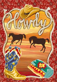Howdy Ranch Texas Large Flag