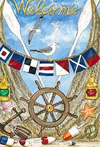 Welcome Nautical Garden Mini Summer Flag