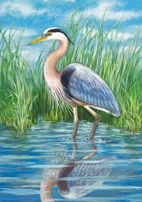 Blue Heron Summer Garden Mini Flag