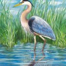 Blue Heron Summer Large Flag