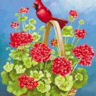 Cardinal Geraniums Basket Summer Garden Mini Flag