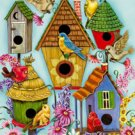 Folk Birdhouse Butterfly Summer Large Flag