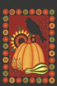 Penny Rug Pumpkin Crow Garden Mini Fall Flag