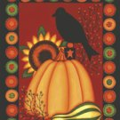 Penny Rug Pumpkin Crow Large Fall Flag