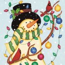Deck the Halls Snowman Christmas Winter Garden Mini Flag
