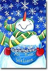 All Flakes Welcome Snowman Christmas Winter Garden Mini Flag