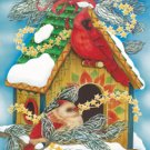 Birdhouses Snow Christmas Winter Large Flag