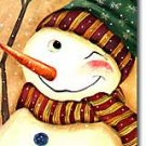 Primitive Snowman Winking Winter Christmas Large Flag