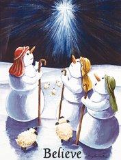 Believe Snowmen Large Winter Christmas Flag