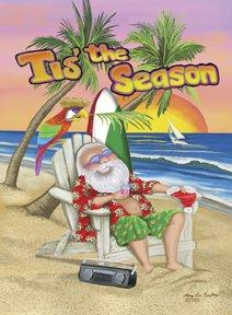 Santa Beach Tis the Season Large Flag