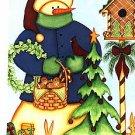 Snowman Birds Winter Christmas Large Flag