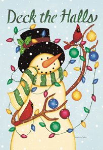 Deck the Halls Snowman Christmas Winter Large Flag