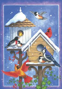 Birdhouses Birds Snow Christmas Winter Large Flag