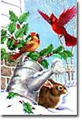 Cardinal Wreath Winter Christmas Large Flag