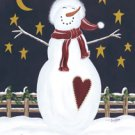 Wish Upon A Star Snowman Primitive Folk Large Flag