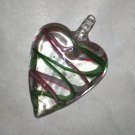 Pink & Green Swirl Heart Pendant
