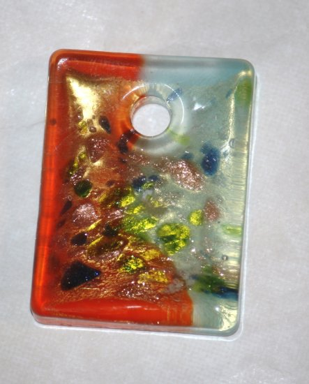 Orange & Blue Speckaled Glass Square Pendant