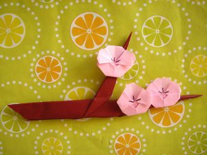 3 X HANDMADE ORIGAMI BRANCH OF PLUM TREE