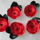 5 X HANDMADE SATIN FLOWERS WITH LEAVES - RED