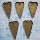 5 x BRONZE LOVE HEART PHOTO FRAME PENDANT