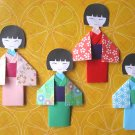 4 X ASSORTED HANDMADE ORIGAMI JAPANESE DOLL