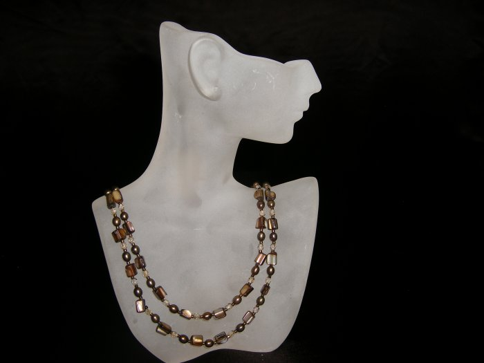 Brown/Green Chip Beaded Necklace