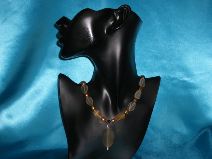 Taupe Glass Bead Necklace