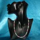 Pink & Green Pearl Necklace & Earring Set
