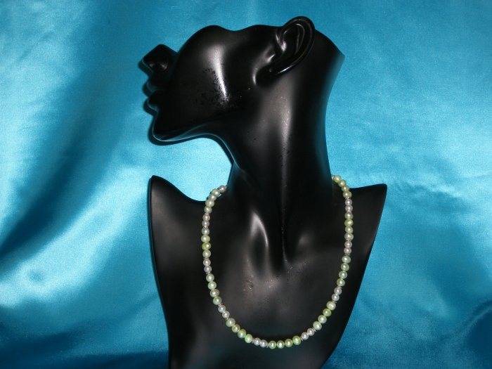 Green & White Pearl Necklace