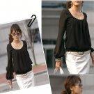 Black Chiffon long sleeve blouse (XXXL)