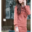 Red Sexy big round button wide collar blouse (XXL)
