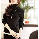 Black Turtleneck elastic sleeve knit blouse