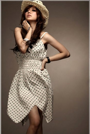 Petal Cut Polka-Dot Dress