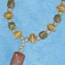 "STERLING SILVER 16""-18"" ADJUSTABLE PORCELAIN BEAD NECKLACE W/ RAINBOW JASPER CENTER"