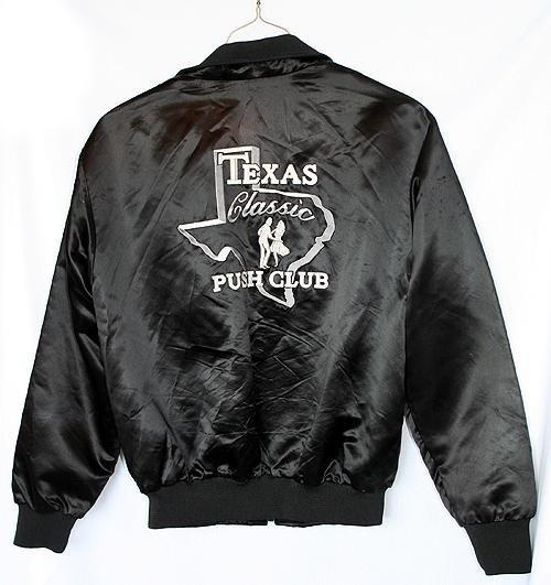 Vintage Black Satin Jacket Texas Push Club Western/Swing Men's Size Large (L)