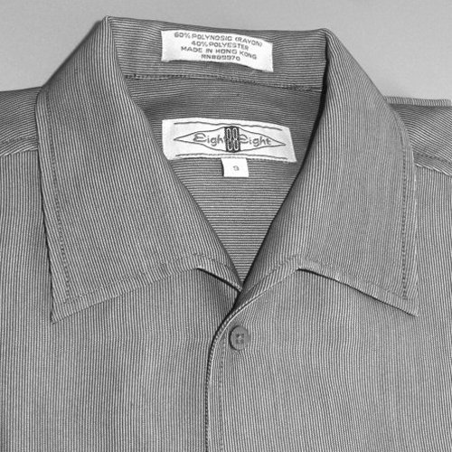 EIGHTY-EIGHT (88) Gray Ribbed Men's Short Sleeve Dress Shirt Size Small (S)