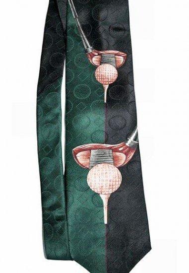 OSCAR DE LA RENTA Green/Navy Silk Golf Tie Brand New NWT