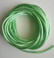 CORD, Satin - Rattail 12' 2mm APPLE GREEN