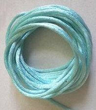 CORD, Satin - Rattail 12' 2mm AQUA BLUE