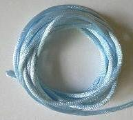 CORD, Satin - Rattail 12' 2mm POWDER BLUE